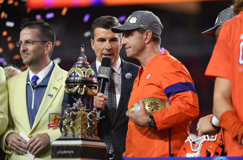 GLENDALE, ARIZONA - DECEMBER 28: Head coach Dabo Swinney of the Clemson Tigers celebrates his teams 29-23 win over the Ohio State Buckeyes in the College Football Playoff Semifinal at the PlayStation Fiesta Bowl at State Farm Stadium on December 28, 2019 in Glendale, Arizona. (Photo by Norm Hall/Getty Images)