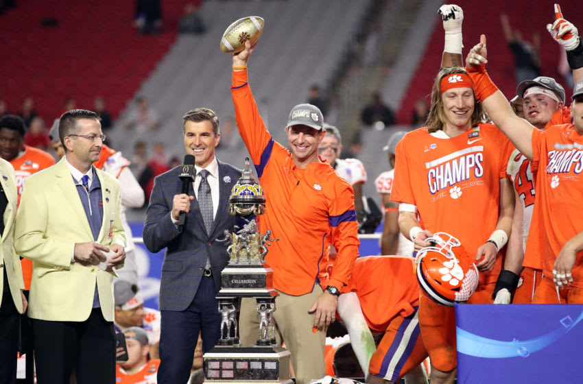 GLENDALE, ARIZONA - DECEMBER 28: Head coach Dabo Swinney of the Clemson Tigers celebrates his teams 29-23 win over the Ohio State Buckeyes in the College Football Playoff Semifinal at the PlayStation Fiesta Bowl at State Farm Stadium on December 28, 2019 in Glendale, Arizona. (Photo by Christian Petersen/Getty Images)