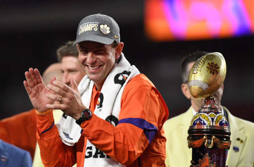 Dabo Swinney of the Clemson Tigers (Photo by Mike Comer/Getty Images)