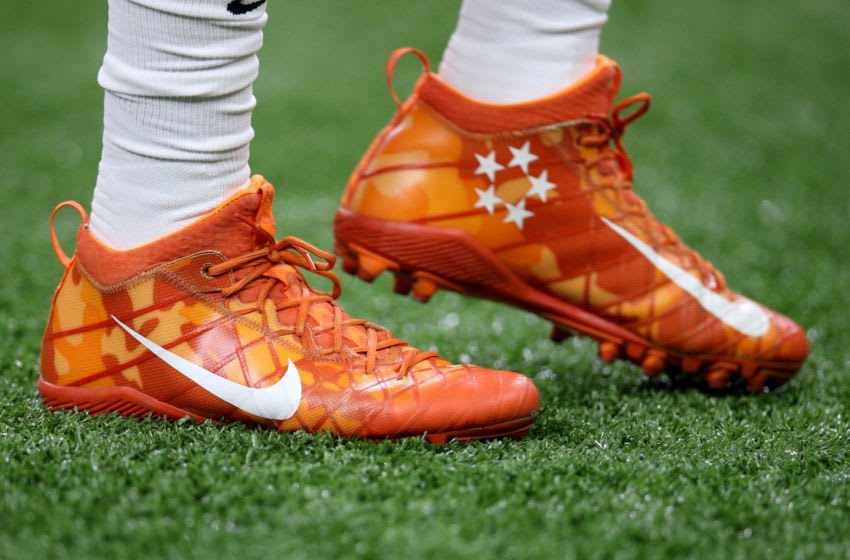 NEW ORLEANS, LOUISIANA - JANUARY 13: A detailed view of the cleats of Trevor Lawrence #16 of the Clemson Tigers prior to the College Football Playoff National Championship game between the Clemson Tigers and the LSU Tigers at Mercedes Benz Superdome on January 13, 2020 in New Orleans, Louisiana. (Photo by Chris Graythen/Getty Images)