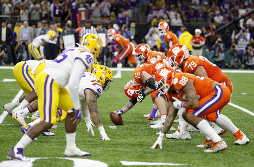 NEW ORLEANS, LOUISIANA - JANUARY 13: Third quarter action between Clemson v LSU in the College Football Playoff National Championship game at Mercedes Benz Superdome on January 13, 2020 in New Orleans, Louisiana. (Photo by Kevin C. Cox/Getty Images)