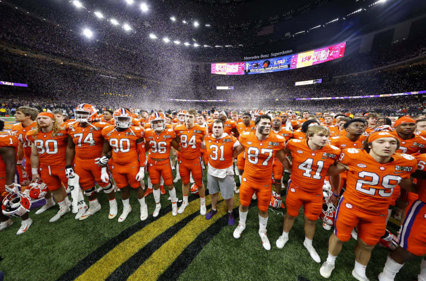 NEW ORLEANS, LOUISIANA - JANUARY 13: The Clemson Tigers react after being defeated 42-25 by LSU Tigers in the College Football Playoff National Championship game at Mercedes Benz Superdome on January 13, 2020 in New Orleans, Louisiana. (Photo by Kevin C. Cox/Getty Images)