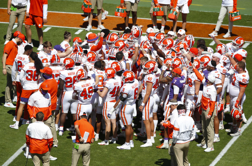 CLEMSON, SC - APRIL 03: Clemson's team white huddles up prior to the Clemson Orange and White Spring Game at Memorial Stadium on April 3, 2021 in Clemson, South Carolina. (Photo by Todd Kirkland/Getty Images)