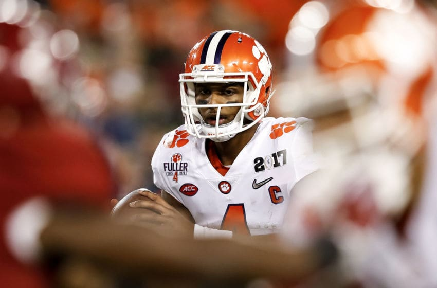 TAMPA, FL - JANUARY 09: Quarterback Deshaun Watson #4 of the Clemson Tigers on a passing play during the 2017 College Football Playoff National Championship Game against the Alabama Crimson Tide at Raymond James Stadium on January 9, 2017 in Tampa, Florida. The Clemson Tigers defeated The Alabama Crimson Tide 35 to 31. (Photo by Don Juan Moore/Getty Images)