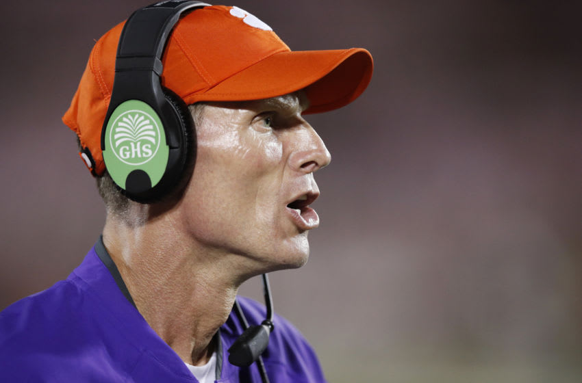 LOUISVILLE, KY - SEPTEMBER 16: Defensive coordinator Brent Venables of the Clemson Tigers reacts during a game against the Louisville Cardinals at Papa John's Cardinal Stadium on September 16, 2017 in Louisville, Kentucky. Clemson won 47-21. (Photo by Joe Robbins/Getty Images)