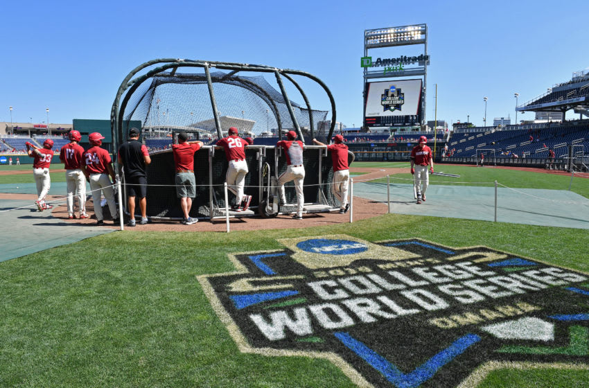 Omaha, NE - JUNE 27: The Arkansas Razorbacks take batting practice, prior to game two of the College World Series Championship Series against the Oregon State Beavers on June 27, 2018 at TD Ameritrade Park in Omaha, Nebraska. (Photo by Peter Aiken/Getty Images)