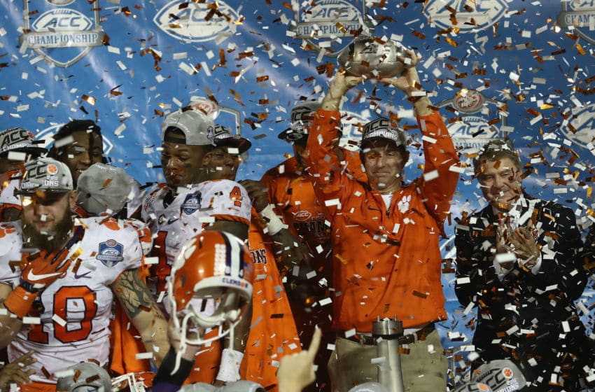ORLANDO, FL - DECEMBER 03: Head coach Dabo Swinney of the Clemson Tigers holds the chammpionship trophy following the ACC Championship game against the Virginia Tech Hokies on December 3, 2016 in Orlando, Florida. The Clemson Tigers won the game 42-35. (Photo by Sam Greenwood/Getty Images)