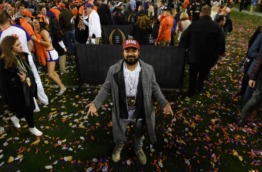 SANTA CLARA, CA - JANUARY 07: Actor Adrian Dev is seen after the CFP National Championship between the Alabama Crimson Tide and the Clemson Tigers presented by AT&T at Levi's Stadium on January 7, 2019 in Santa Clara, California. (Photo by Harry How/Getty Images)