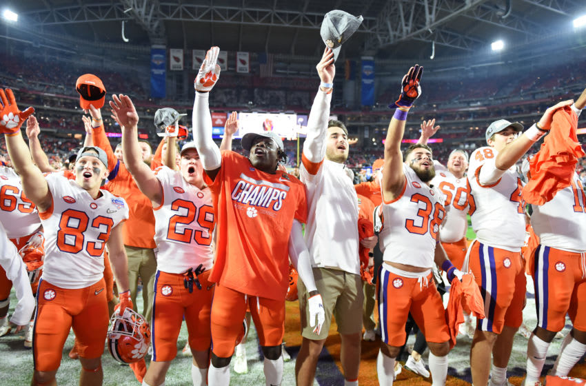 GLENDALE, ARIZONA - DECEMBER 28: Thehe Clemson Tigers celebrate their 29-23 win over the Ohio State Buckeyes in the College Football Playoff Semifinal at the PlayStation Fiesta Bowl at State Farm Stadium on December 28, 2019 in Glendale, Arizona. (Photo by Norm Hall/Getty Images)