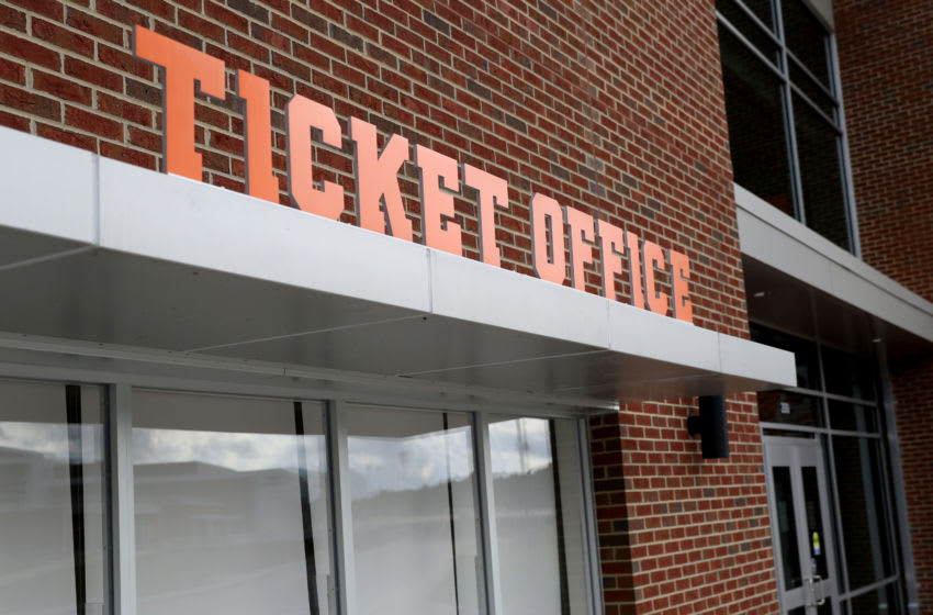 CLEMSON, SOUTH CAROLINA - JUNE 10: A view of the ticket office at Clemson Memorial Stadium on the campus of Clemson University on June 10, 2020 in Clemson, South Carolina. The campus remains open in a limited capacity due to the Coronavirus (COVID-19) pandemic. (Photo by Maddie Meyer/Getty Images)