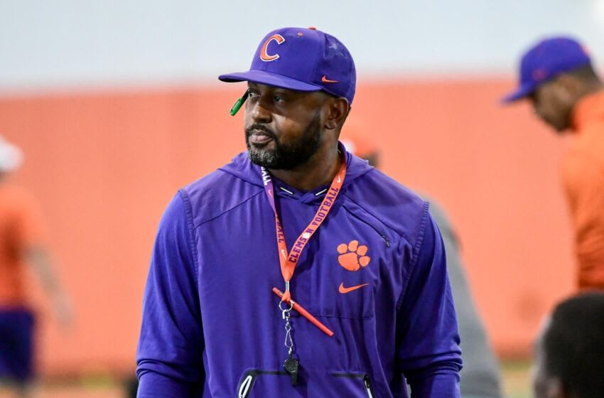 Clemson cornerback coach Mike Reed during practice at the Poe Indoor Facility at Clemson Tuesday, August 20, 2019. Clemson Football Practice Monday August 20