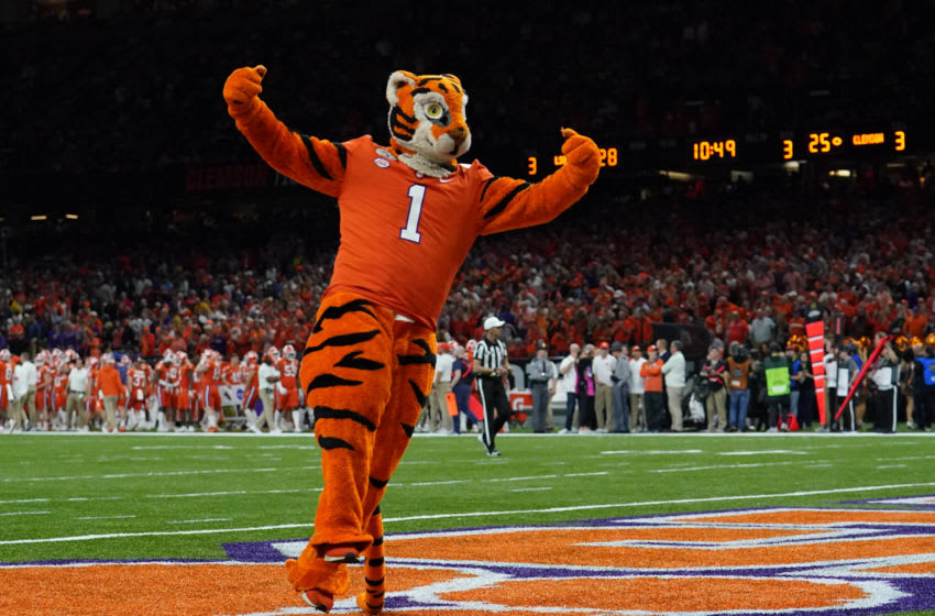 Jan 13, 2020; New Orleans, Louisiana, USA; Clemson Tigers mascot performs against the LSU Tigers in the third quarter in the College Football Playoff national championship game at Mercedes-Benz Superdome. Mandatory Credit: Kirby Lee-USA TODAY Sports