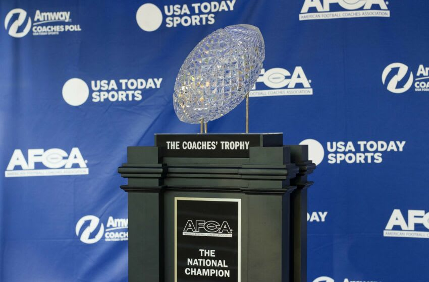 Oct 3, 2020; Greenville, South Carolina, USA; A general view of the American Football Coaches Association (AFCA) Coaches Trophy presented by Amway during a fan meet and greet with Clemson Tigers former quarterback Tajh Boyd at the Marriott Courtyard in downtown Greenville. Mandatory Credit: Joshua S. Kelly-USA TODAY Sports
