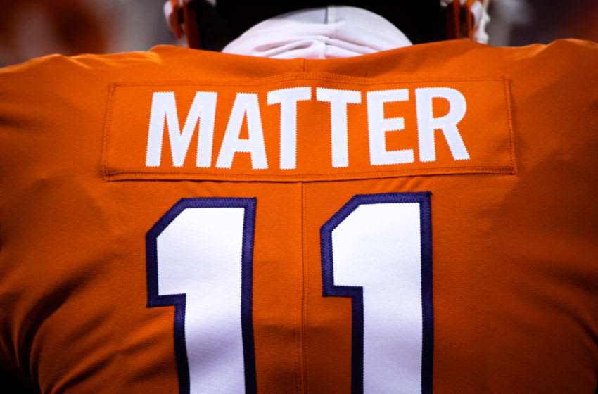Clemson wide receiver Ajou Ajou(11) displays the word matter on the back of his jersey before their game against Virginia, Oct 3, 2020; Clemson, South Carolina, USA; at Memorial Stadium. Mandatory Credit: Ken Ruinard-USA TODAY Sports