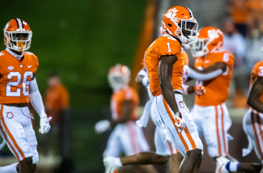Oct 3, 2020; Clemson, South Carolina, USA; Clemson cornerback Derion Kendrick (1), after breaking up a pass in the first quarter of their game against Virginia at Memorial Stadium. Mandatory Credit: Ken Ruinard-USA TODAY Sports