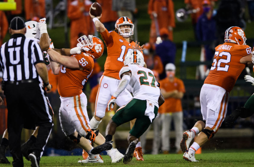 Oct 10, 2020; Clemson, South Carolina, USA; Clemson Tigers quarterback Trevor Lawrence (16) throws the ball against the Miami Hurricanes during the second quarter at Memorial Stadium. Mandatory Credit: Ken Ruinard-USA TODAY Sports