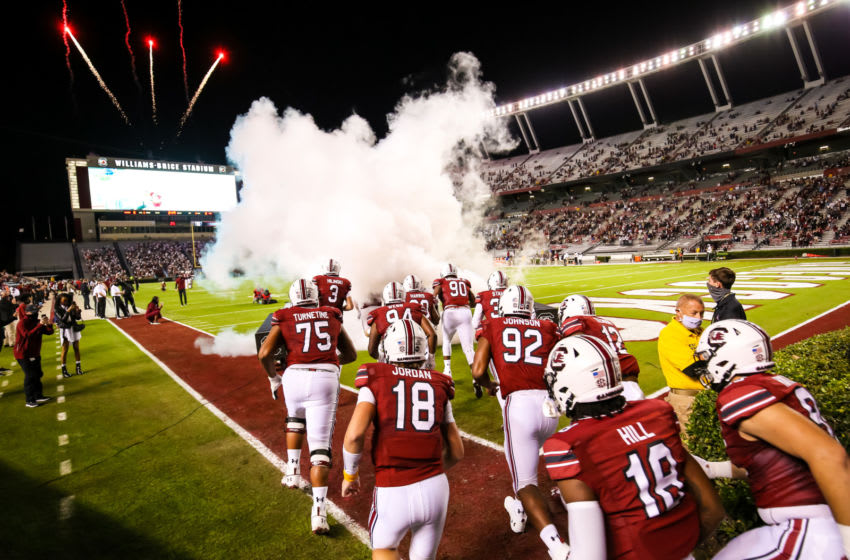 Nov 7, 2020; Columbia, South Carolina, USA; South Carolina Gamecocks players make their 2001 entrance before the game against the Texas A&M Aggies at Williams-Brice Stadium. Mandatory Credit: Jeff Blake-USA TODAY Sports