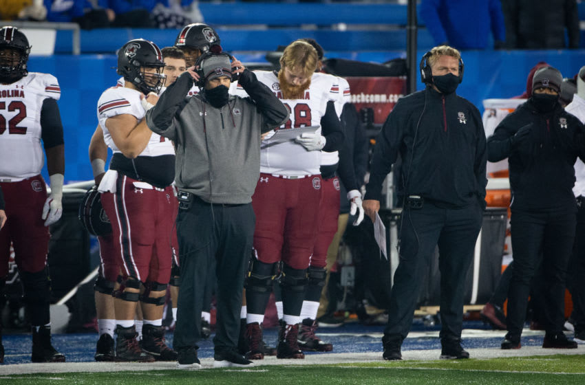 Dec 5, 2020; Lexington, Kentucky, USA; South Carolina Gamecocks interim head coach Mike Bobo coaches from the sidelines during the third quarter against the Kentucky Wildcats at Kroger Field. Mandatory Credit: Arden Barnes-USA TODAY Sports