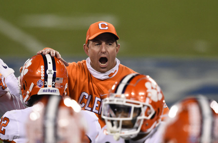 Dec 19, 2020; Charlotte, NC, USA; Clemson Tigers head coach Dabo Swinney on the sidelines in the fourth quarter at Bank of America Stadium. Mandatory Credit: Bob Donnan-USA TODAY Sports