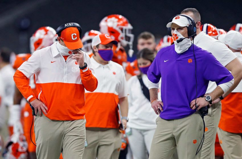 Clemson Tigers head coach Dabo Swinney and defense coordinator Brent Venables on the sideline down 49-21 in the fourth quarter against Ohio State Buckeyes during the College Football Playoff semifinal at the Allstate Sugar Bowl in the Mercedes-Benz Superdome in New Orleans on Friday, Jan. 1, 2021. College Football Playoff Ohio State Faces Clemson In Sugar Bowl