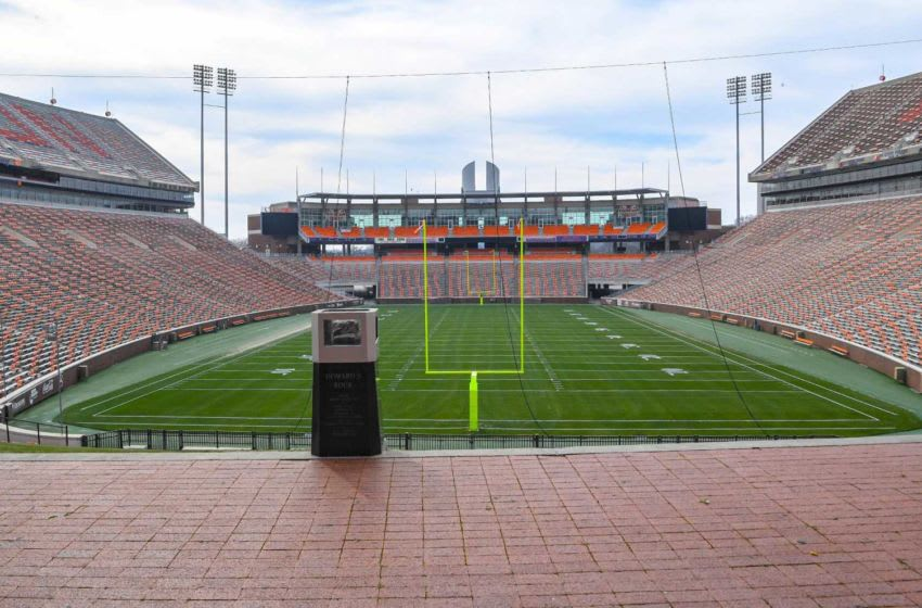 Howard's Rock protected and under surveillance with a field painted for the Spring game April 2. Similar to the fall football season in 2020, the Spring game will be limited to just under 19,000 fans, a combination of IPTAY donors and students. Any other tickets left will be $10 each, sold starting March 25. The band and spirit squads will populate the Hill. Spring Football Game Clemson University