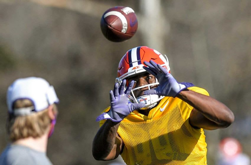 Clemson wide receiver Justyn Ross catches a ball during football practice on Monday in Clemson. Clemson Spring Football Practice March 8