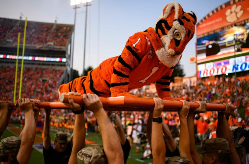 The Clemson University Tiger mascot does pushups after they scored against SC State Saturday, Sept. 11, 2021. Jm Clemson 091121 025
