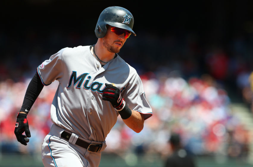 PHILADELPHIA, PA - JUNE 23: JT Riddle #10 of the Miami Marlins rounds third base after he hit a two-run home run against the Philadelphia Phillies during the second inning of a baseball game at Citizens Bank Park on June 23, 2019 in Philadelphia, Pennsylvania. The Marlins defeated the Phillies 6-4. (Photo by Rich Schultz/Getty Images)
