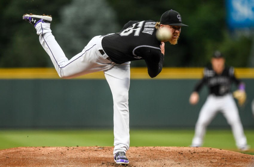 DENVER, CO - AUGUST 16: Jon Gray #55 of the Colorado Rockies pitches against the Miami Marlins in the first inning of a game at Coors Field on August 16, 2019 in Denver, Colorado. (Photo by Dustin Bradford/Getty Images)