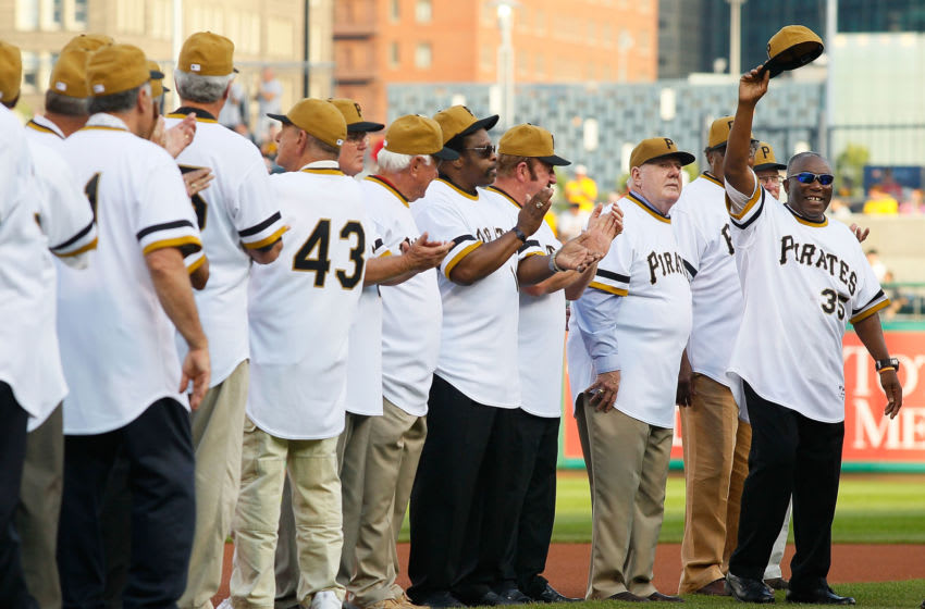 PITTSBURGH - JUNE 21: Manny Sanguillen #35 of the World Series Champion 1971 Pittsburgh Pirates salutes the crowd after being introduced before the game against the Baltimore Orioles on June 21, 2011 at PNC Park in Pittsburgh, Pennsylvania. (Photo by Jared Wickerham/Getty Images)