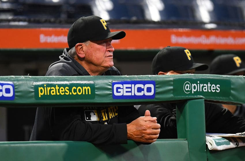 PITTSBURGH, PA - SEPTEMBER 27: Manager Clint Hurdle #13 of the Pittsburgh Pirates looks on during the first inning against the Cincinnati Reds at PNC Park on September 27, 2019 in Pittsburgh, Pennsylvania. (Photo by Joe Sargent/Getty Images)