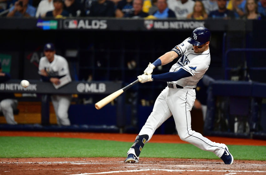 ST PETERSBURG, FLORIDA - OCTOBER 08: Kevin Kiermaier #39 of the Tampa Bay Rays hits a single against the Houston Astros during the fifth inning in game four of the American League Division Series at Tropicana Field on October 08, 2019 in St Petersburg, Florida. (Photo by Julio Aguilar/Getty Images)