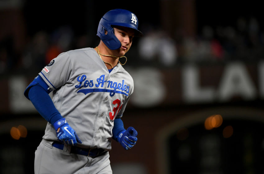 SAN FRANCISCO, CALIFORNIA - SEPTEMBER 27: Joc Pederson #31 of the Los Angeles Dodgers runs the bases after his two-run home run in the second inning against the San Francisco Giants during their MLB game at Oracle Park on September 27, 2019 in San Francisco, California. (Photo by Robert Reiners/Getty Images)