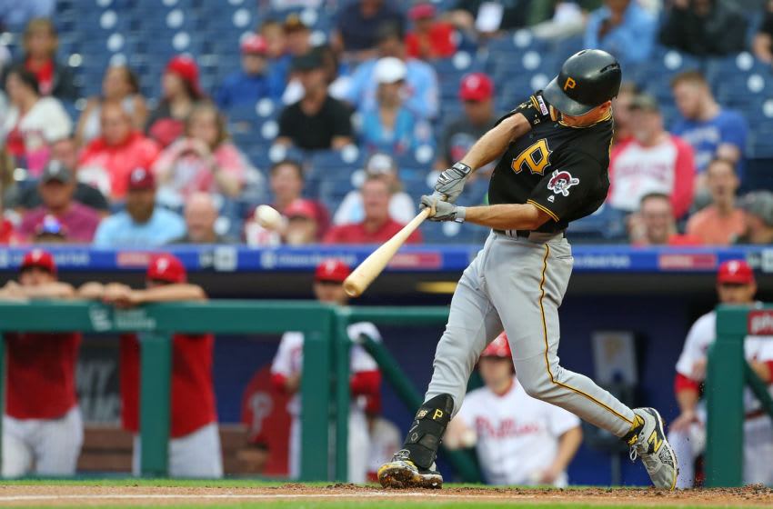 PHILADELPHIA, PA - AUGUST 28: Adam Frazier #26 of the Pittsburgh Pirates in action against the Philadelphia Phillies during a game at Citizens Bank Park on August 28, 2019 in Philadelphia, Pennsylvania. (Photo by Rich Schultz/Getty Images)