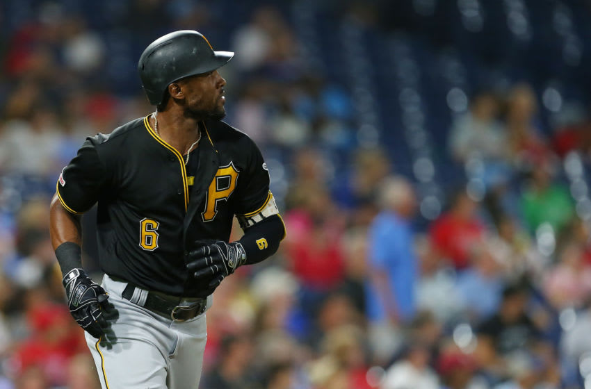 PHILADELPHIA, PA - AUGUST 28: Starling Marte #6 of the Pittsburgh Pirates hits a home run against the Philadelphia Phillies during the sixth inning of a game at Citizens Bank Park on August 28, 2019 in Philadelphia, Pennsylvania. (Photo by Rich Schultz/Getty Images)
