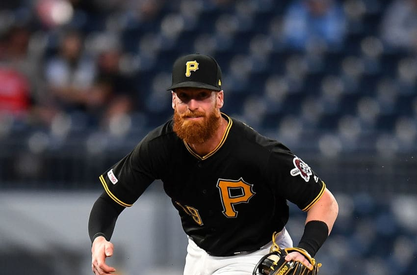 PITTSBURGH, PA - SEPTEMBER 18: Colin Moran #19 of the Pittsburgh Pirates in action during the game against the Seattle Mariners at PNC Park on September 18, 2019 in Pittsburgh, Pennsylvania. (Photo by Joe Sargent/Getty Images)