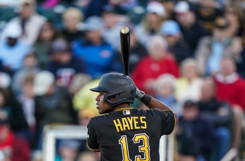 FORT MYERS, FL- FEBRUARY 29: Ke'Bryan Hayes #13 of the Pittsburgh Pirates bats during a spring training game against the Minnesota Twins on February 29, 2020 at the Hammond Stadium in Fort Myers, Florida. (Photo by Brace Hemmelgarn/Minnesota Twins/Getty Images)