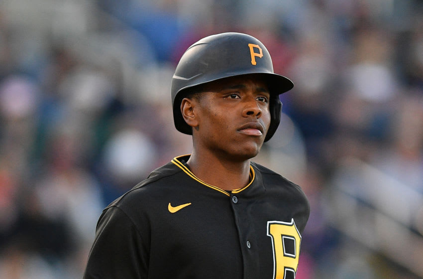 FORT MYERS, FLORIDA - FEBRUARY 29: Ke'Bryan Hayes #13 of the Pittsburgh Pirates in action during the spring training game against the Minnesota Twins at Century Link Sports Complex on February 29, 2020 in Fort Myers, Florida. (Photo by Mark Brown/Getty Images)