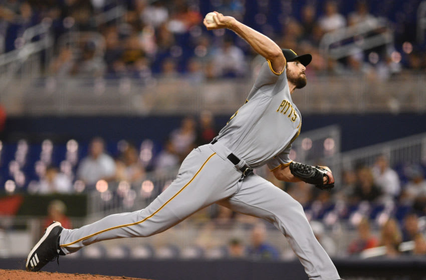 MIAMI, FL - JUNE 14: Clay Holmes #52 of the Pittsburgh Pirates delivers a pitch in the eighth inning against the Miami Marlins at Marlins Park on June 14, 2019 in Miami, Florida. (Photo by Mark Brown/Getty Images)