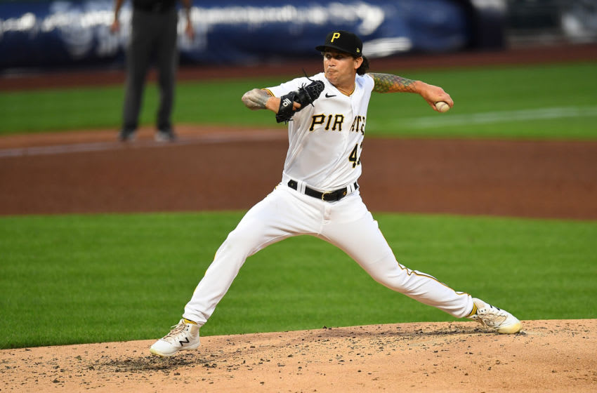 PITTSBURGH, PA - AUGUST 07: Steven Brault #43 of the Pittsburgh Pirates pitches during the fifth inning against he Detroit Tigers at PNC Park on August 7, 2020 in Pittsburgh, Pennsylvania. (Photo by Joe Sargent/Getty Images)