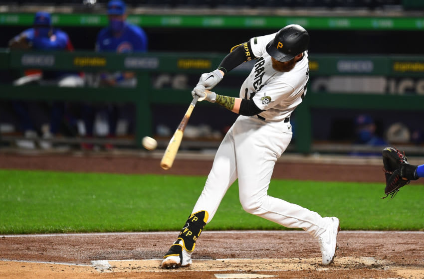 PITTSBURGH, PA - SEPTEMBER 02: Colin Moran #19 of the Pittsburgh Pirates hits a solo home run doing the second inning against the Chicago Cubs at PNC Park on September 2, 2020 in Pittsburgh, Pennsylvania. (Photo by Joe Sargent/Getty Images)