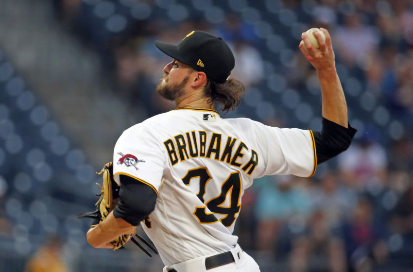 PITTSBURGH, PA - JUNE 08: JT Brubaker #34 of the Pittsburgh Pirates pitches in the first inning against the Los Angeles Dodgers at PNC Park on June 8, 2021 in Pittsburgh, Pennsylvania. (Photo by Justin K. Aller/Getty Images)