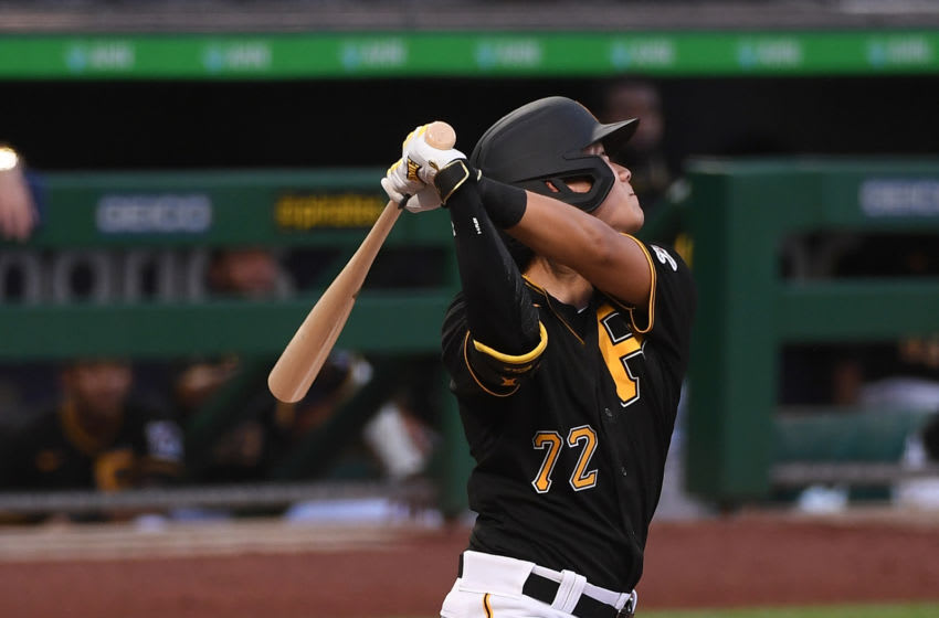 PITTSBURGH, PA - JULY 22: Ji-hwan Bae #72 of the Pittsburgh Pirates in action during the exhibition game against the Cleveland Indians at PNC Park on July 22, 2020 in Pittsburgh, Pennsylvania. (Photo by Justin Berl/Getty Images)