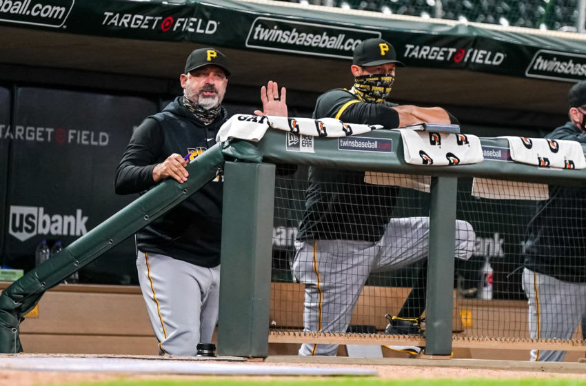 MINNEAPOLIS, MN - AUGUST 03: Manager Derek Shelton #17 of the Pittsburgh Pirates and bench coach Don Kelly #12 look on against the Minnesota Twins on August 3, 2020 at Target Field in Minneapolis, Minnesota. (Photo by Brace Hemmelgarn/Minnesota Twins/Getty Images)