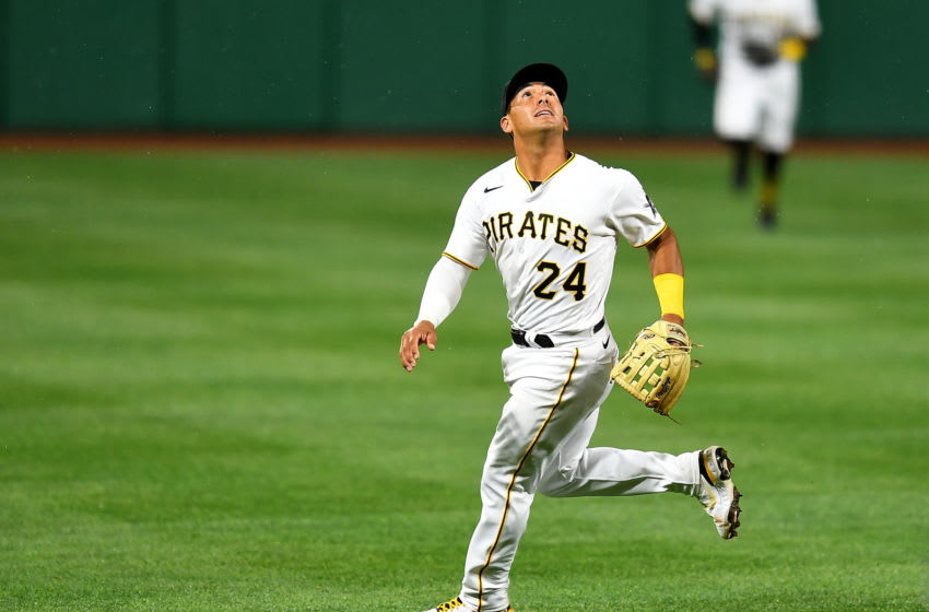 PITTSBURGH, PA - APRIL 10: Phillip Evans #24 of the Pittsburgh Pirates in action during the game against the Chicago Cubs at PNC Park on April 10, 2021 in Pittsburgh, Pennsylvania. (Photo by Joe Sargent/Getty Images)
