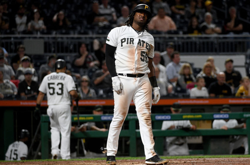 PITTSBURGH, PA - SEPTEMBER 05: Josh Bell #55 of the Pittsburgh Pirates reacts after striking out in the sixth inning during the game against the Miami Marlins at PNC Park on September 5, 2019 in Pittsburgh, Pennsylvania. (Photo by Justin Berl/Getty Images)