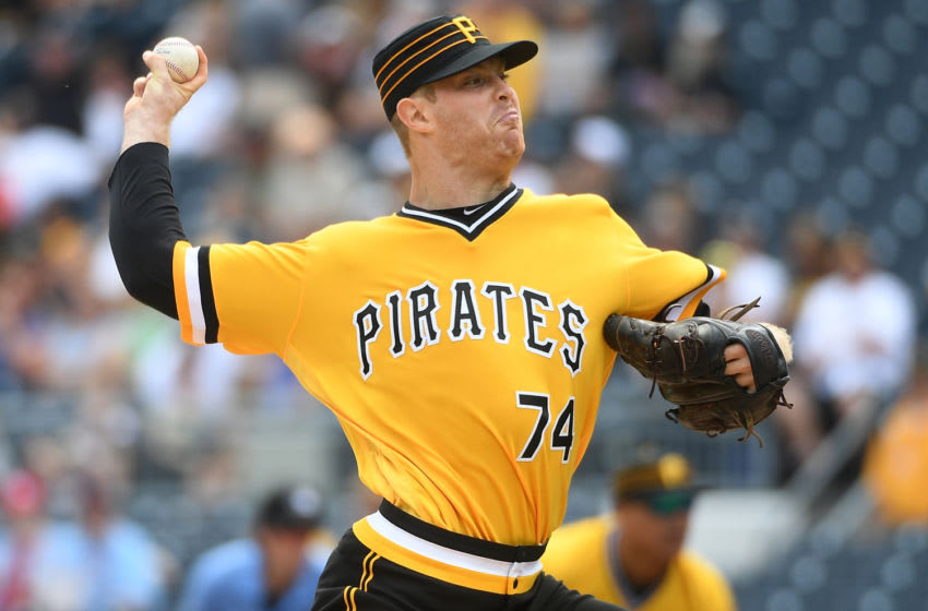 PITTSBURGH, PA - SEPTEMBER 08: James Marvel #74 of the Pittsburgh Pirates delivers a pitch in the first inning of his major league debut against the St. Louis Cardinals at PNC Park on September 8, 2019 in Pittsburgh, Pennsylvania. (Photo by Justin Berl/Getty Images)