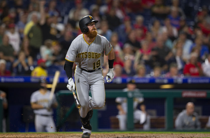 PHILADELPHIA, PA - AUGUST 27: Colin Moran #19 of the Pittsburgh Pirates hits a two run home run in the top of the sixth inning against the Philadelphia Phillies at Citizens Bank Park on August 27, 2019 in Philadelphia, Pennsylvania. The Pirates defeated the Phillies 5-4. (Photo by Mitchell Leff/Getty Images)