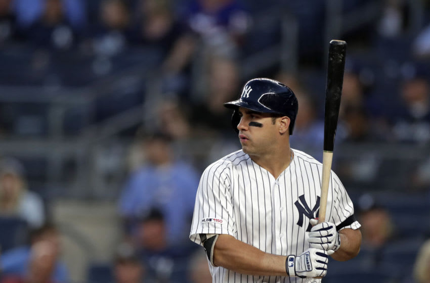 NEW YORK, NY - SEPTEMBER 03: Mike Tauchman #39 of the New York Yankees at bat against the Texas Rangers during the second inning at Yankee Stadium on September 3, 2019 in the Bronx borough of New York City. (Photo by Adam Hunger/Getty Images)