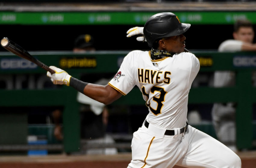 PITTSBURGH, PA - SEPTEMBER 22: Ke'Bryan Hayes #13 of the Pittsburgh Pirates singles to right field in the sixth inning during the game against the Chicago Cubs at PNC Park on September 22, 2020 in Pittsburgh, Pennsylvania. (Photo by Justin Berl/Getty Images)